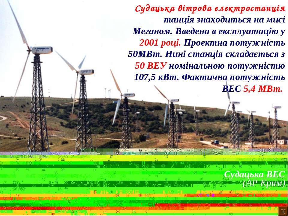 Судацька ВЕС (АР Крим) Судацька вітрова електростанція танція знаходиться на ...