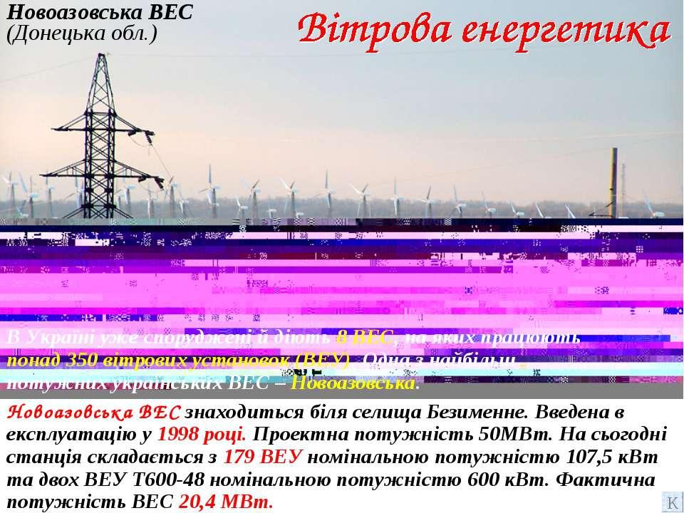 Новоазовська ВЕС (Донецька обл.) Новоазовська ВЕС знаходиться біля селища Без...