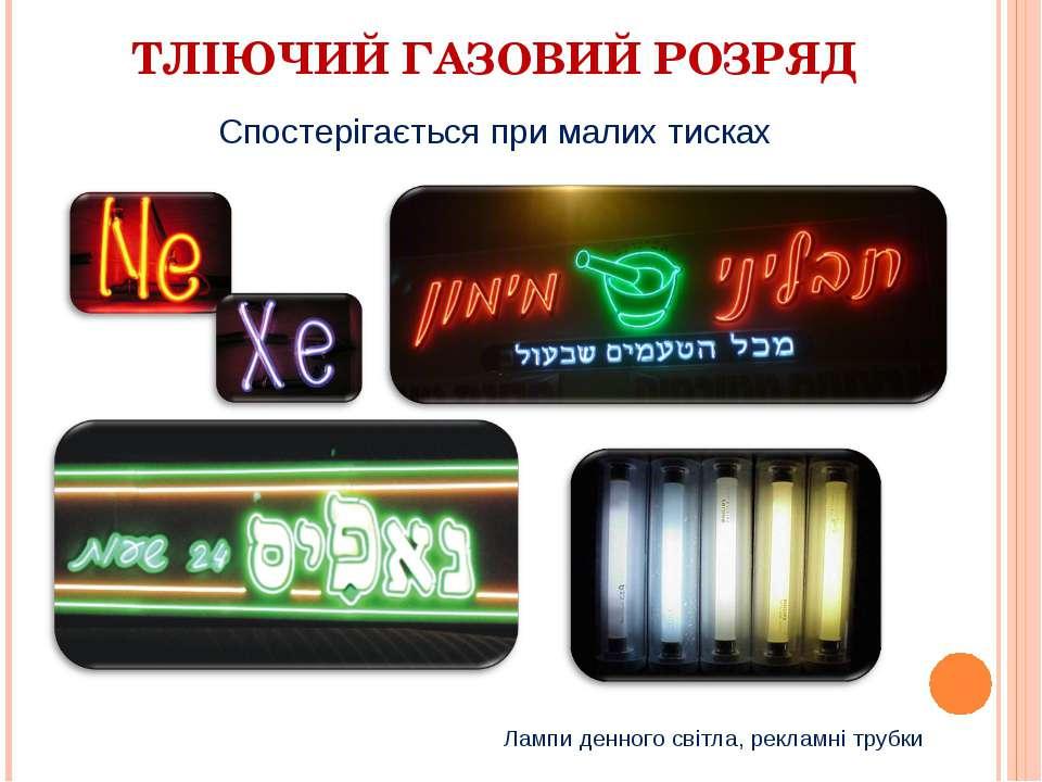 ТЛІЮЧИЙ ГАЗОВИЙ РОЗРЯД Спостерігається при малих тисках Лампи денного світла,...