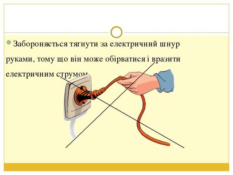 Забороняється тягнути за електричний шнур руками, тому що він може обірватися...