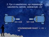 3. Рух зі швидкістю, що перевищує швидкість світла, неможливо. (1) V1 = С/2 V...