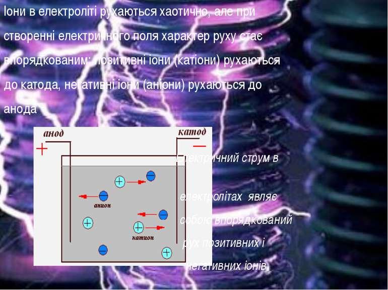 Іони в електроліті рухаються хаотично, але при створенні електричного поля ха...