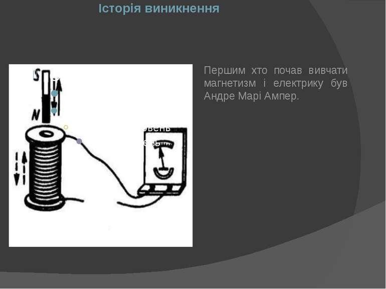 Історія виникнення Першим хто почав вивчати магнетизм і електрику був Андре М...