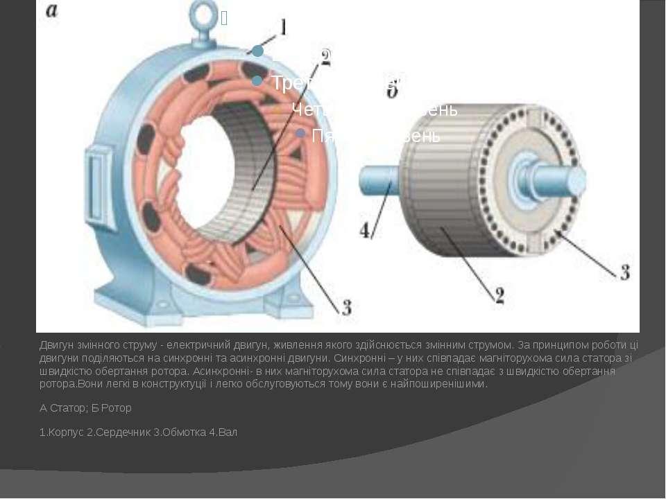 Двигун змінного струму - електричний двигун, живлення якого здійснюється змін...