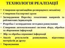 ТЕХНОЛОГІЯ РЕАЛІЗАЦІЇ Створення організаційно-розпорядчого механізму Створенн...