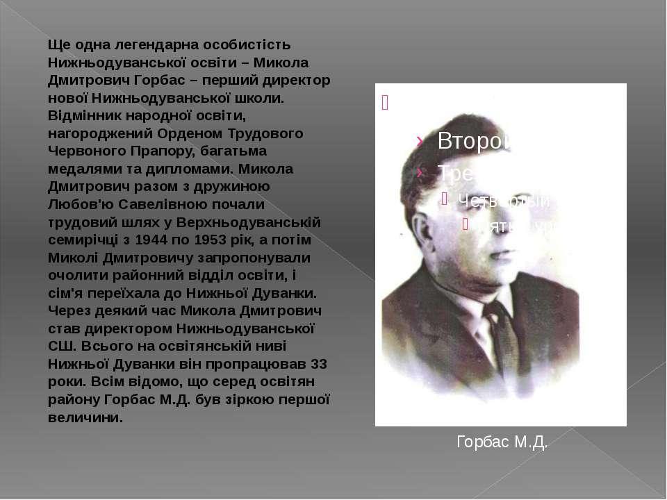 Горбас М.Д. Ще одна легендарна особистість Нижньодуванської освіти – Микола Д...