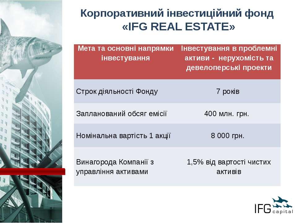 Корпоративний інвестиційний фонд «IFG REAL ESTATE» Мета та основні напрямки і...