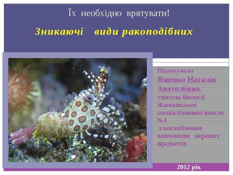 Зникаючі види ракоподібних Їх необхідно врятувати! Підготувала Ященко Наталія...