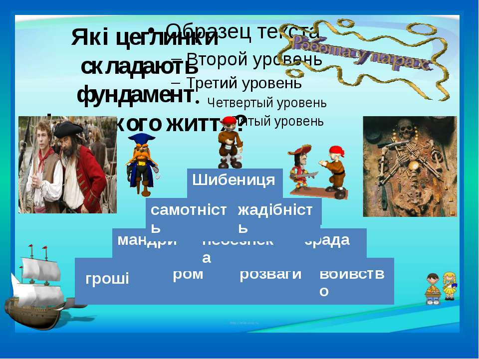 Які цеглинки складають фундамент піратського життя? гроші ром розваги вбивств...