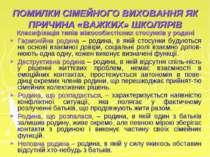 ПОМИЛКИ СІМЕЙНОГО ВИХОВАННЯ ЯК ПРИЧИНА «ВАЖКИХ» ШКОЛЯРІВ Класифікація типів м...