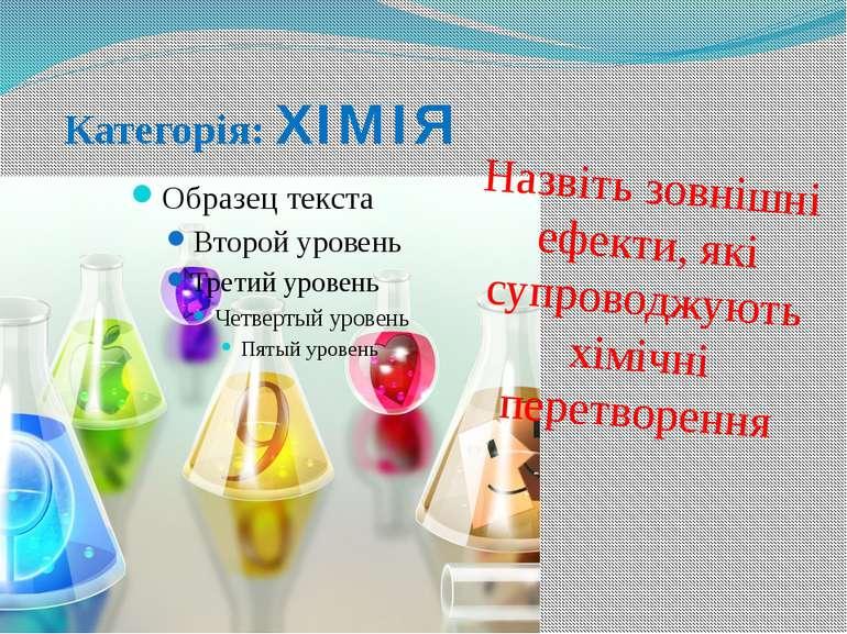 Категорія: ХІМІЯ Назвіть зовнішні ефекти, які супроводжують хімічні перетворення