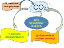 СО2 Практичне використання Добавляють в повітря теплиць У засобах пожежогасін...