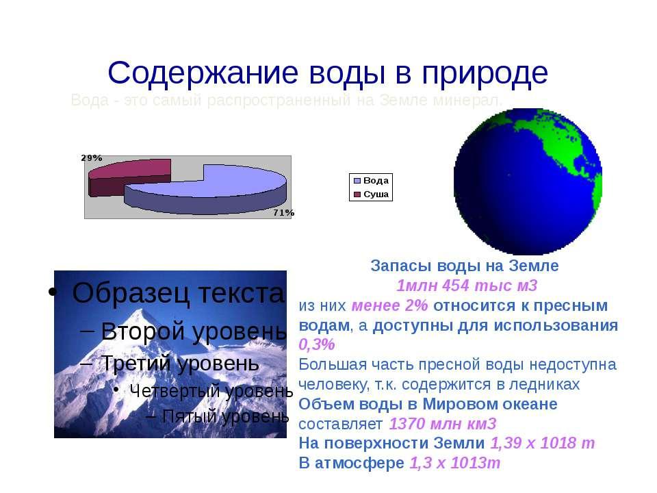 Содержание воды в природе Вода - это самый распространенный на Земле минерал....