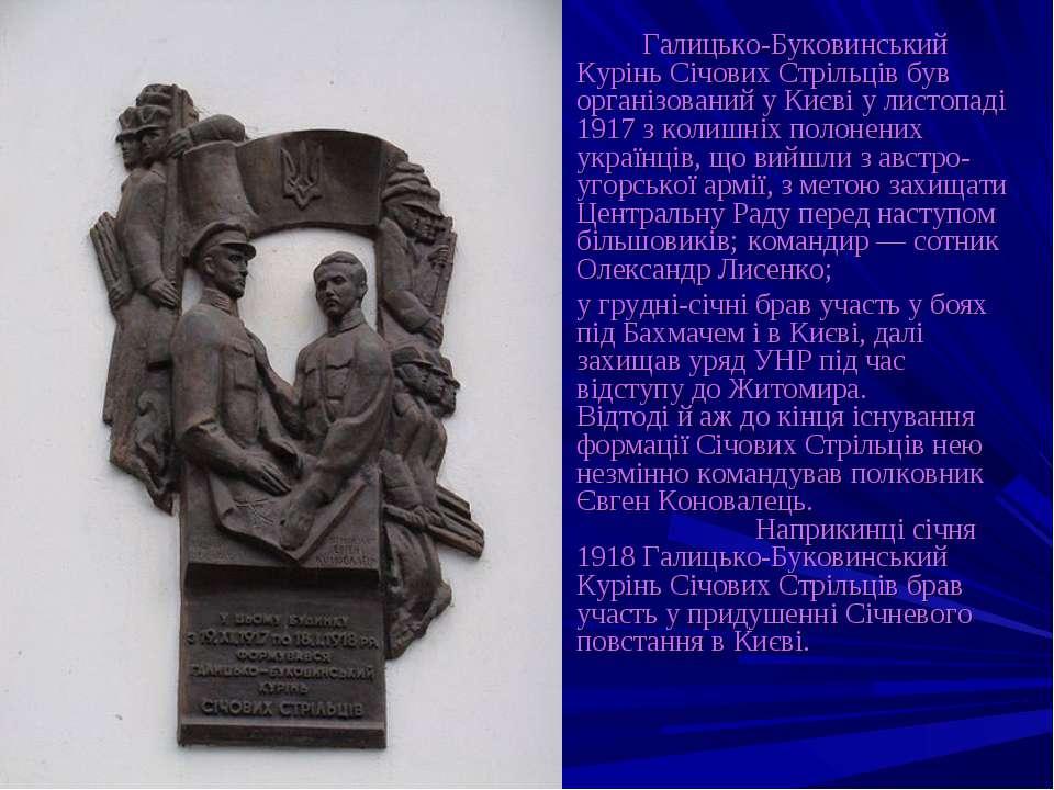 Галицько-Буковинський Курінь Січових Стрільців був організований у Києві у ли...