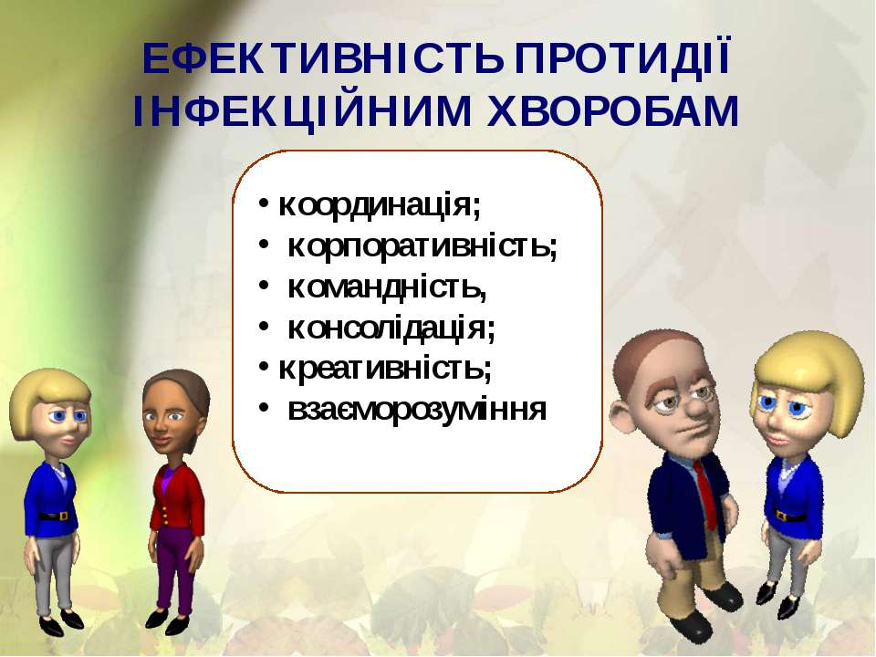 ЕФЕКТИВНІСТЬ ПРОТИДІЇ ІНФЕКЦІЙНИМ ХВОРОБАМ координація; корпоративність; кома...