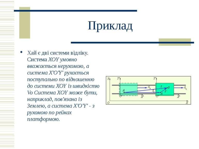 Приклад Хай є дві системи відліку. Система XOY умовно вважається нерухомою, а...