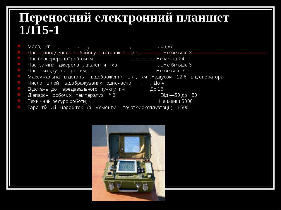 Переносний електронний планшет 1Л15-1 Маса, кг , , . , . . , ....6,87 Час при...