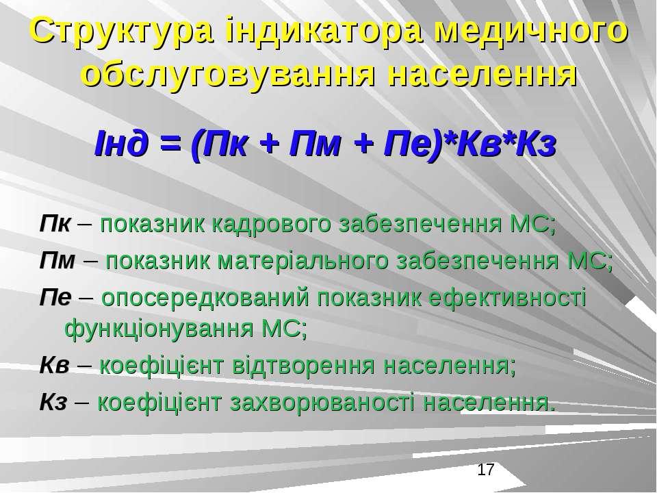 Структура індикатора медичного обслуговування населення Інд = (Пк + Пм + Пе)*...