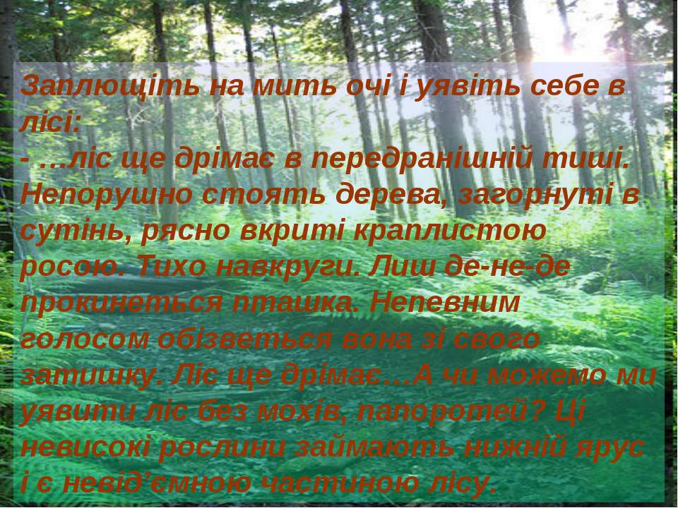 Заплющіть на мить очі і уявіть себе в лісі: - …ліс ще дрімає в передранішній ...