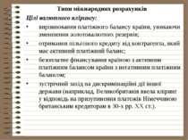 Типи міжнародних розрахунків Цілі валютного клірингу: вирівнювання платіжного...