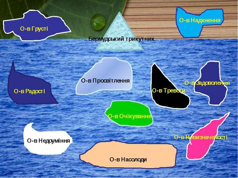 Бермудський трикутник О-в Надхнення О-в Грусті О-в Очікування О-в Тревоги О-в...