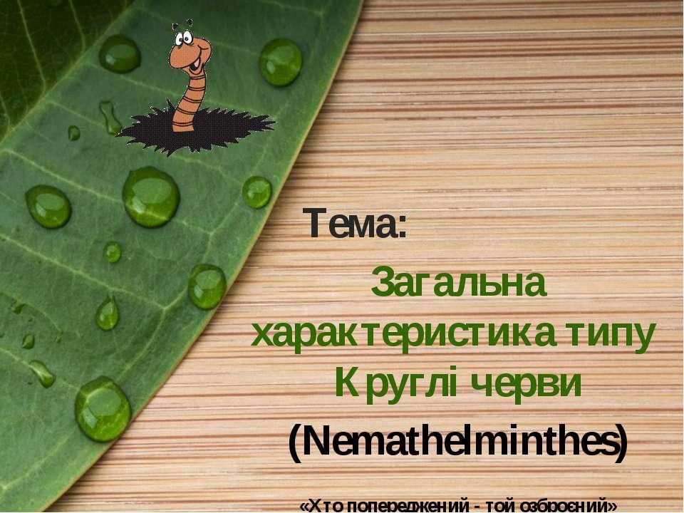 Тема: Загальна характеристика типу Круглі черви (Nemathelminthes) «Хто попере...