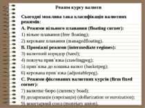 Режим курсу валюти Сьогодні можлива така класифікація валютних режимів: A. Ре...