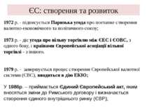 ЄС: створення та розвиток 1972 p. - підписується Паризька угода про поетапне ...