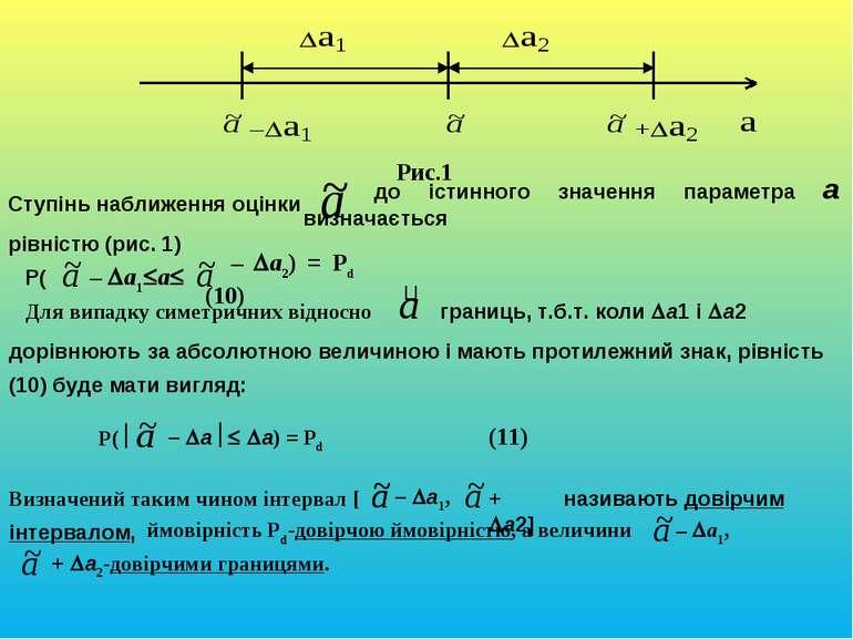 Рис.1 Ступінь наближення оцінки до істинного значення параметра a визначаєтьс...
