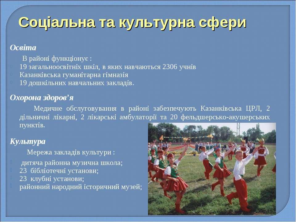 Соціальна та культурна сфери Освіта В районі функціонує : 19 загальноосвітніх...