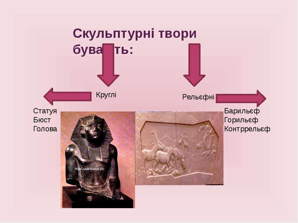 Скульптурні твори бувають: Круглі Рельєфні Статуя Бюст Голова Барильєф Гориль...