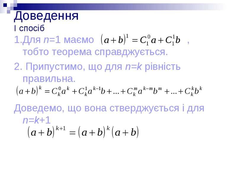 Доведення І спосіб 1.Для n=1 маємо , тобто теорема справджується. 2. Припусти...