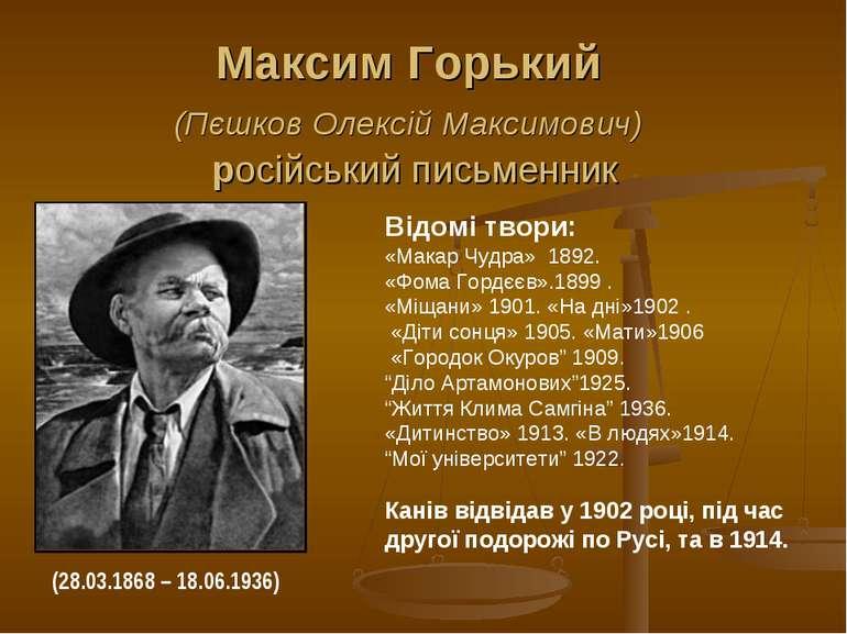 Максим Горький (Пєшков Олексій Максимович) російський письменник Відомі твори...