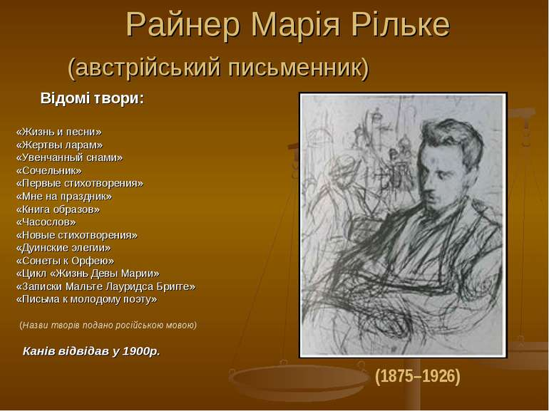 Райнер Марія Рільке (австрійський письменник) Відомі твори: «Жизнь и песни» «...