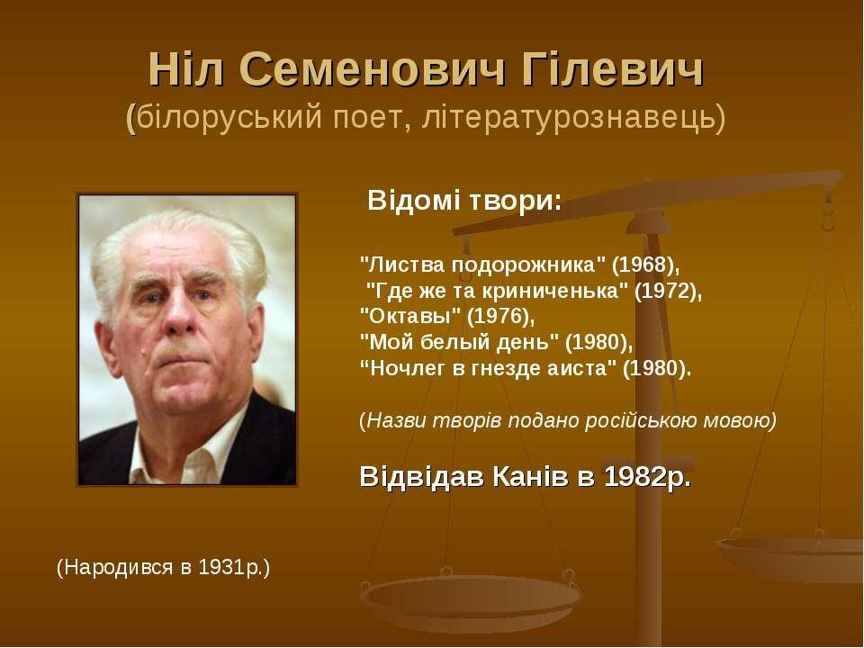 """Ніл Семенович Гілевич (білоруський поет, літературознавець) Відомі твори: """"Ли..."""