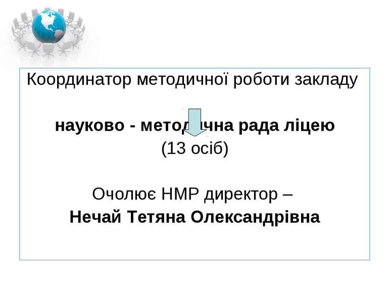 Координатор методичної роботи закладу науково - методична рада ліцею (13 осіб...