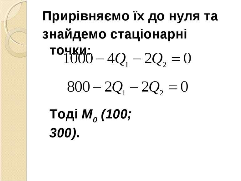 Прирівняємо їх до нуля та знайдемо стаціонарні точки: Тоді М0 (100; 300).