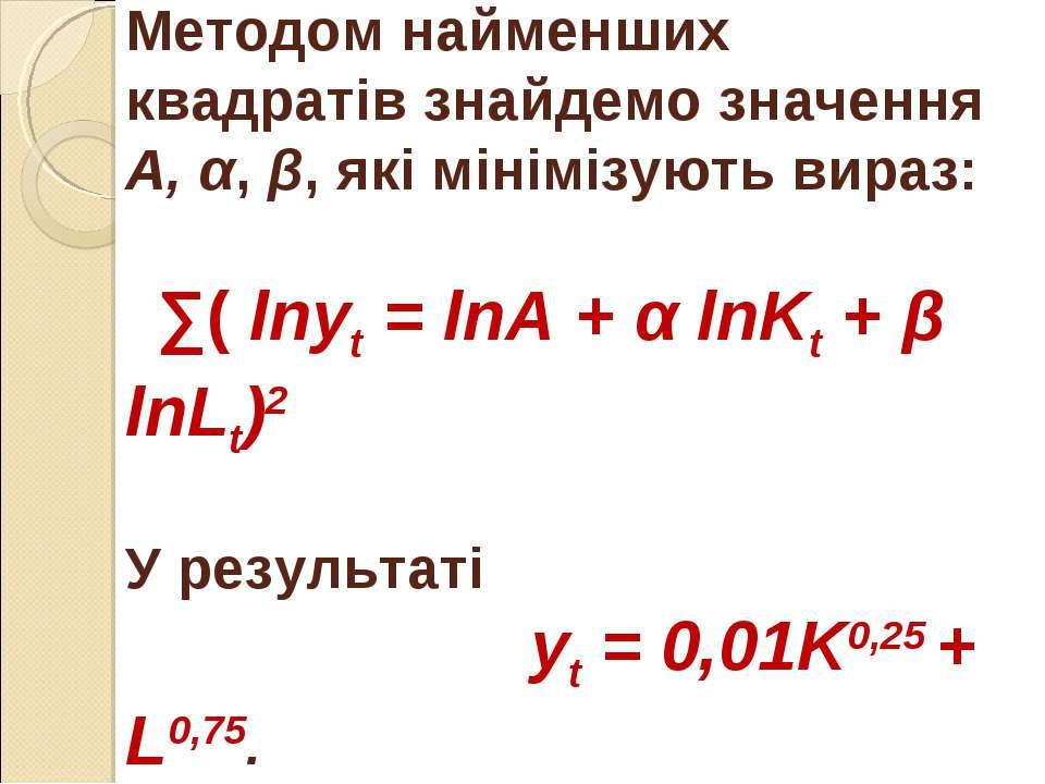 Методом найменших квадратів знайдемо значення А, α, β, які мінімізують вираз:...