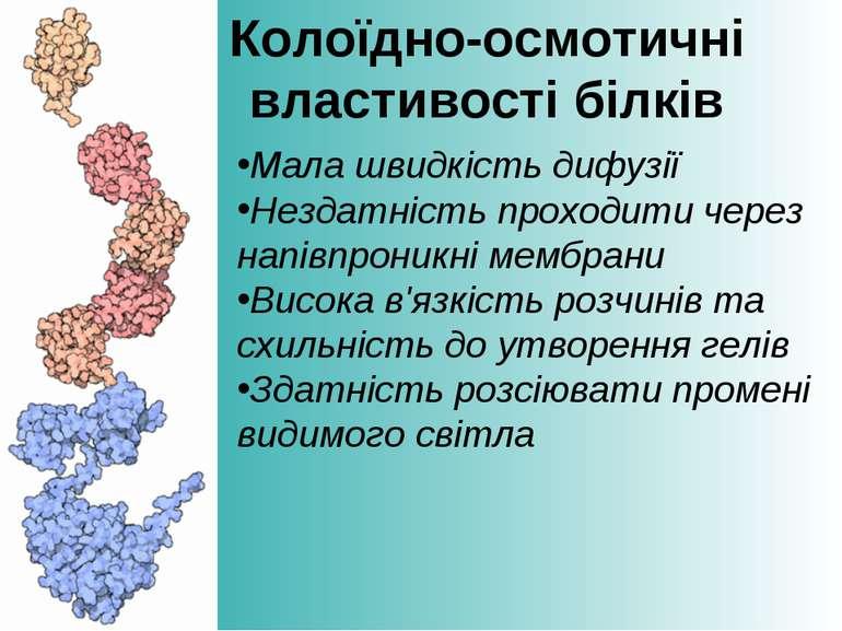 Колоїдно-осмотичні властивості білків Мала швидкість дифузії Нездатність прох...