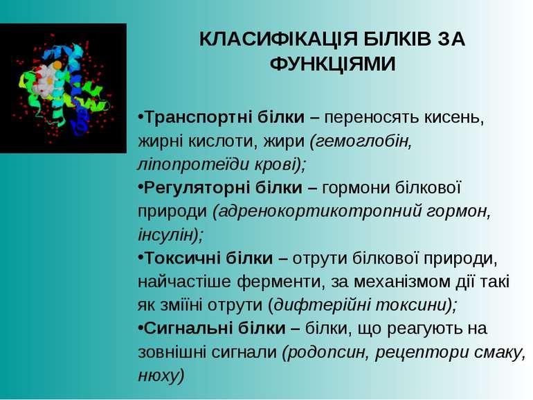 КЛАСИФІКАЦІЯ БІЛКІВ ЗА ФУНКЦІЯМИ Транспортні білки – переносять кисень, жирні...