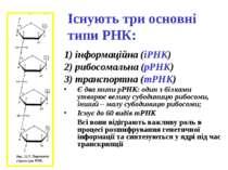 Існують три основні типи РНК: 1) інформаційна (іРНК) 2) рибосомальна (рРНК) 3...