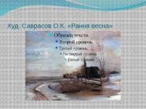 Худ. Саврасов О.К. «Рання весна»