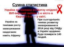 Сумна статистика Україна за темпами розвитку епідемії ВІЛ-інфекції займає 1-е...