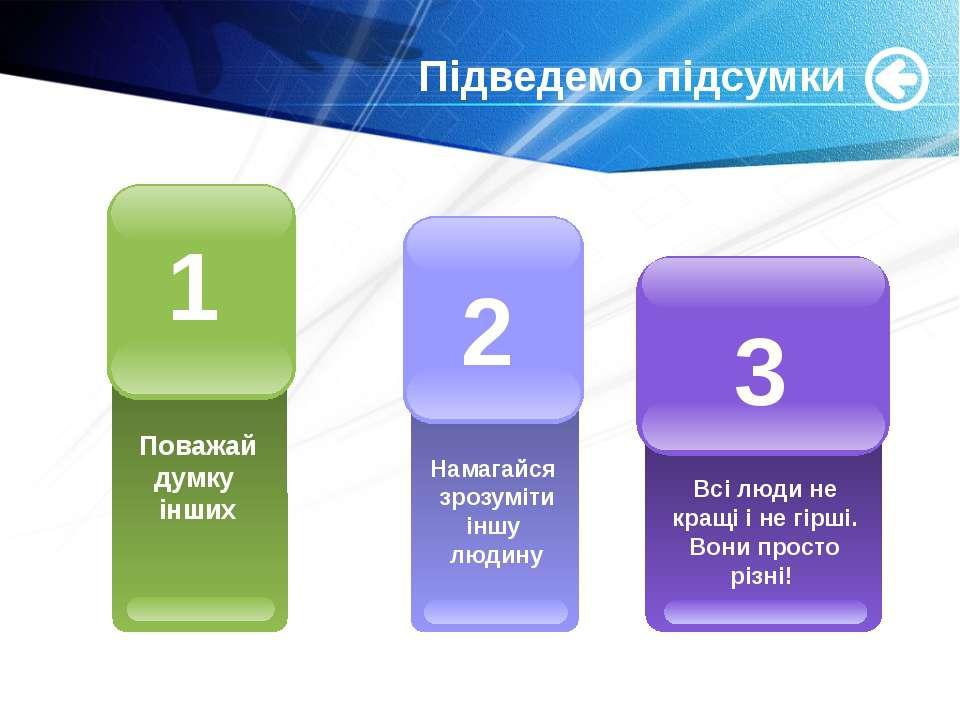 www.themegallery.com Підведемо підсумки Поважай думку інших 1 Всі люди не кра...