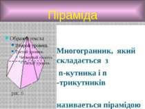 Піраміда Многогранник, який складається з n-кутника і n -трикутників називает...
