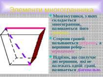 Элементи многогранника Многокутники, з яких складається многогранник, називаю...