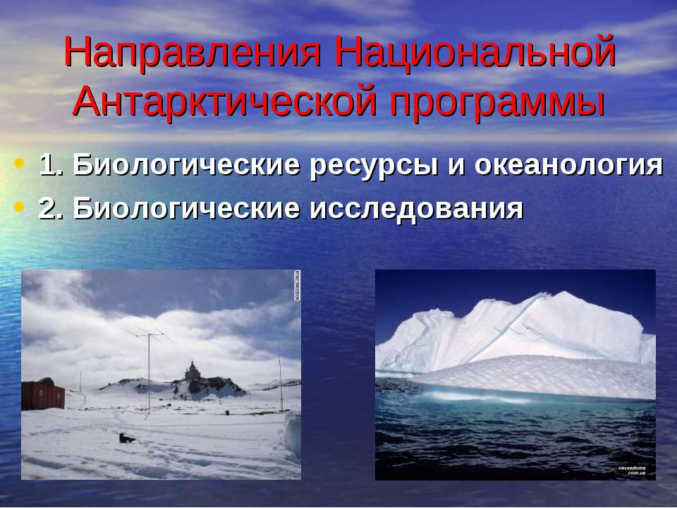 Направления Национальной Антарктической программы 1. Биологические ресурсы и ...