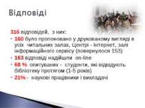 316 відповідей, з них: 160 було пропоновано у друкованому вигляді в усіх чита...