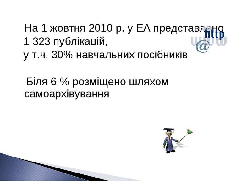 На 1 жовтня 2010 р. у ЕА представлено 1 323 публікацій, у т.ч. 30% навчальних...