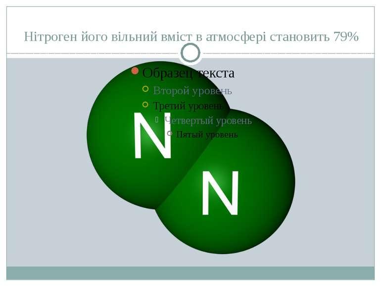 Нітроген його вільний вміст в атмосфері становить 79% Вміст вільного газоподі...
